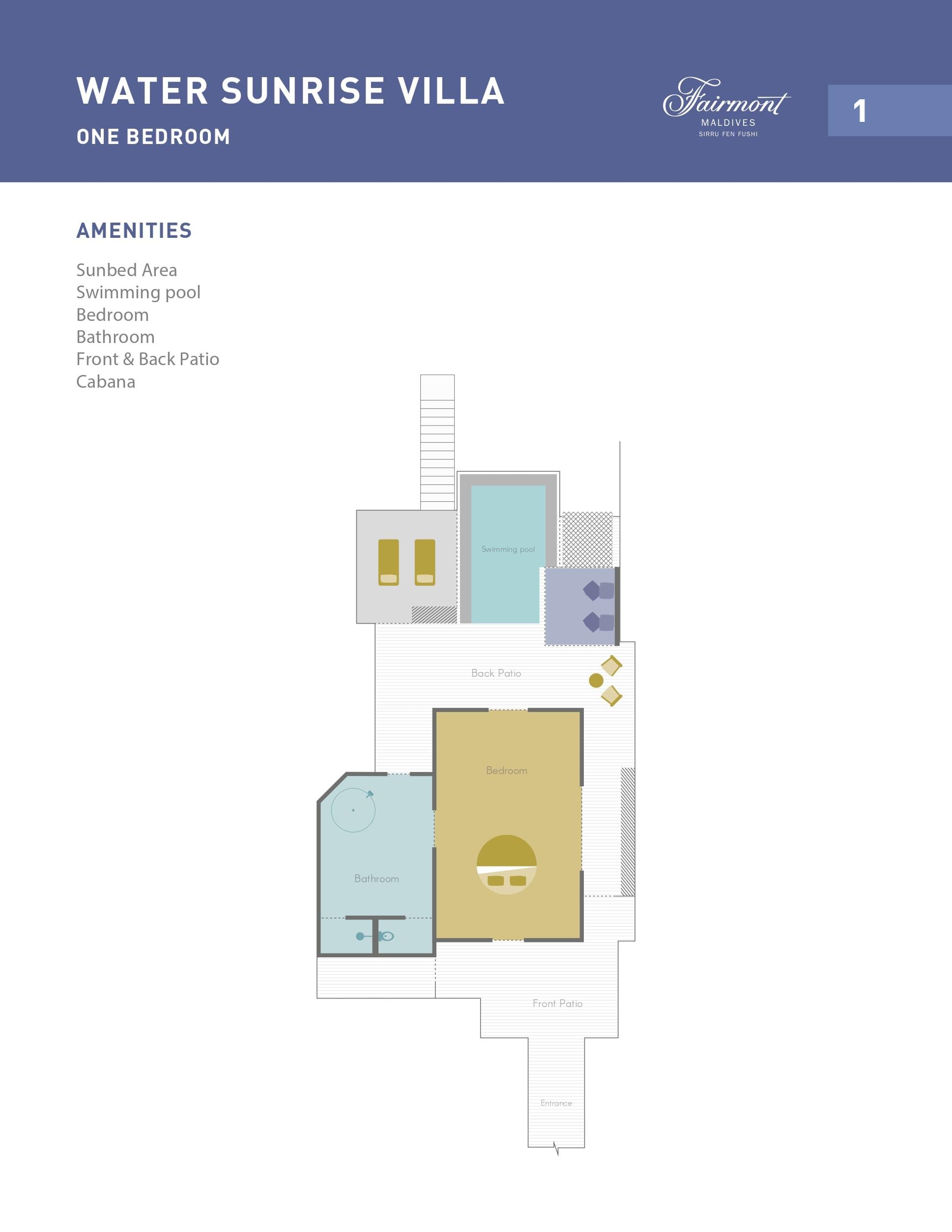 Мальдивы, отель Fairmont Maldives Sirru Fen Fushi, план-схема номера Water Sunrise Villa