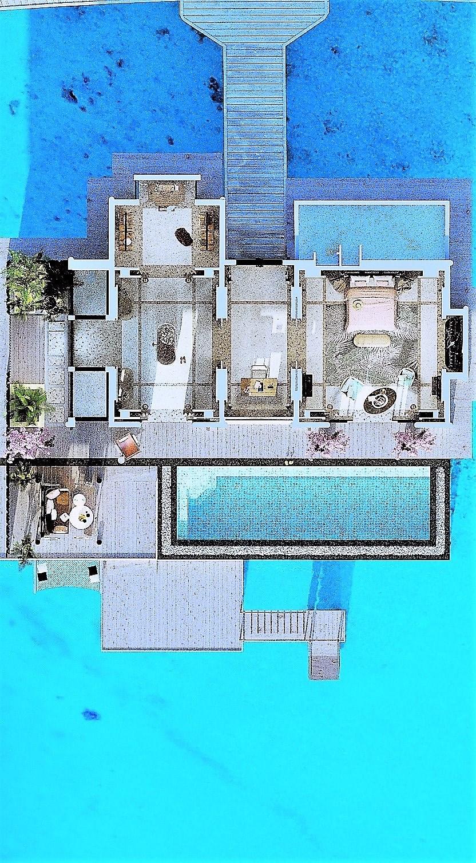 Мальдивы, отель Joali Maldives, план-схема номера Water Villa with Pool