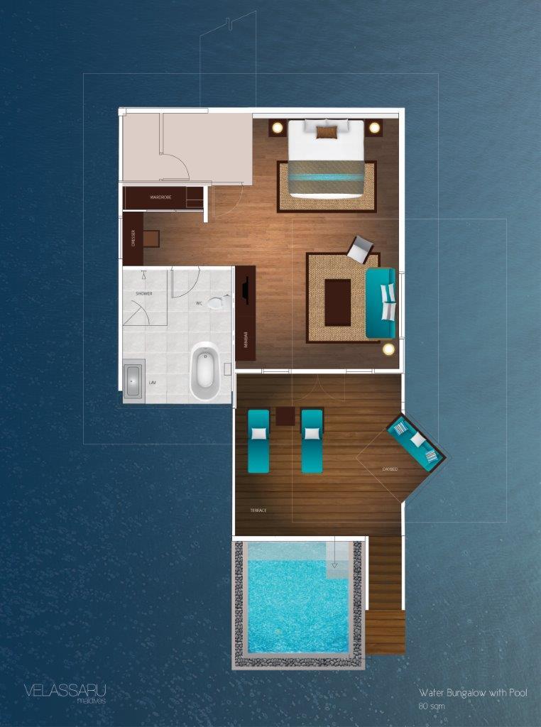Мальдивы, отель Velassaru Maldives, план-схема номера Water Bungalow with Pool