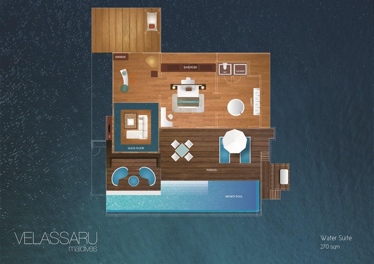 Мальдивы, отель Velassaru Maldives, план-схема номера Water Suite