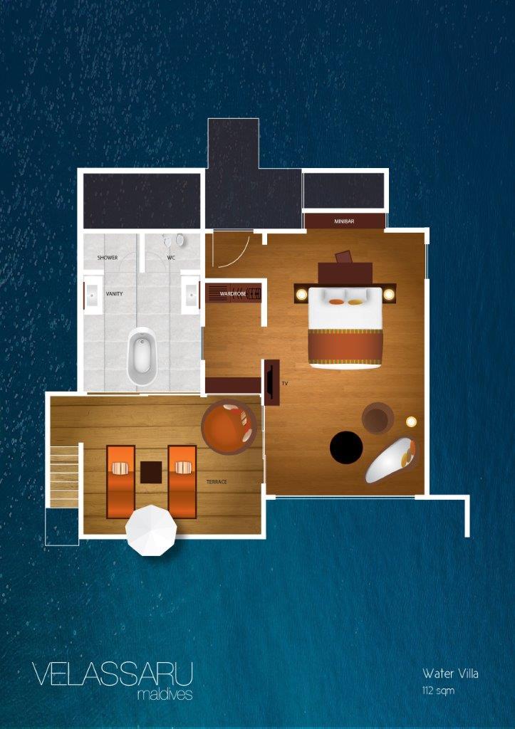 Мальдивы, отель Velassaru Maldives, план-схема номера Water Villa