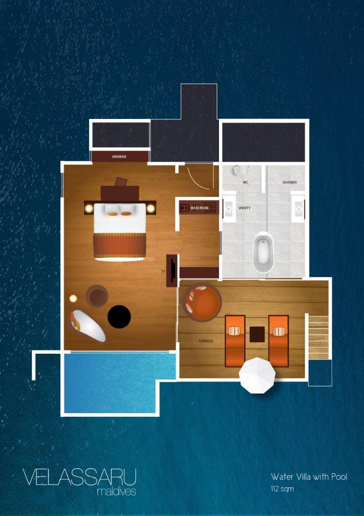 Мальдивы, отель Velassaru Maldives, план-схема номера Water Villa with Pool