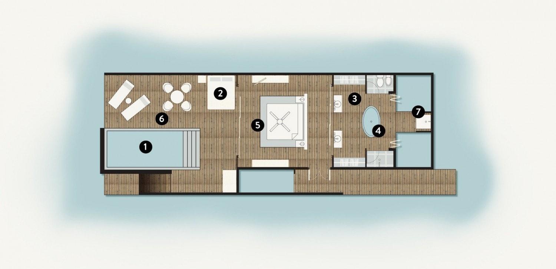 Мальдивы, отель Coco Palm Bodu Hithi, план-схема номера Water Villa with Pool