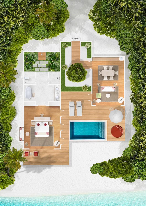 Мальдивы, отель Cora Cora Maldives, план-схема номера Beach Suite