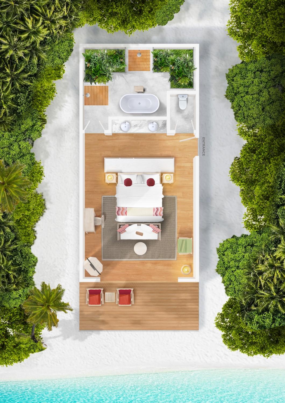 Мальдивы, отель Cora Cora Maldives, план-схема номера Beach Villa