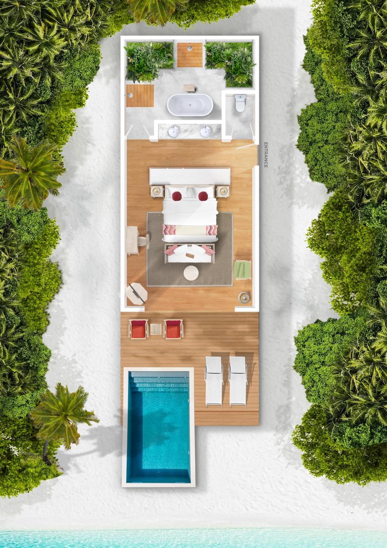 Мальдивы, отель Cora Cora Maldives, план-схема номера Beach Pool Villa