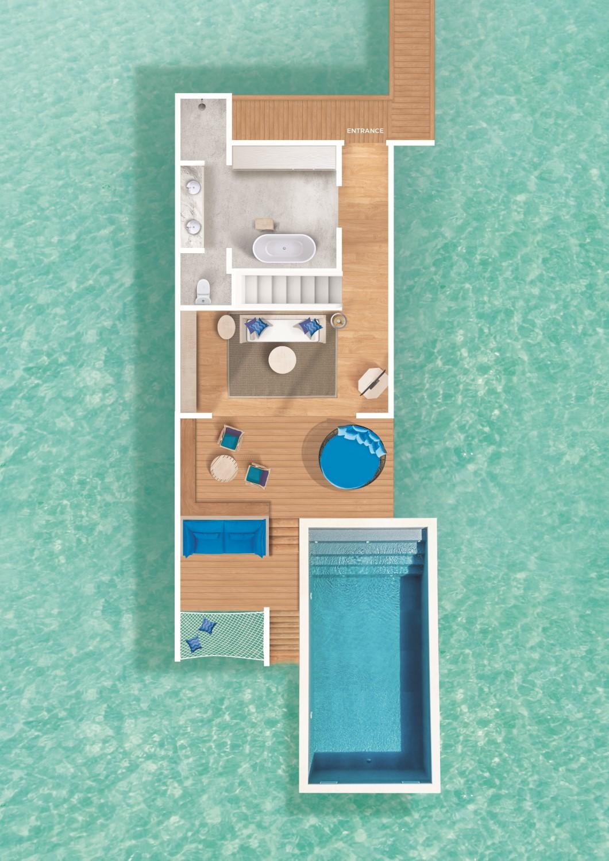 Мальдивы, отель Cora Cora Maldives, план-схема номера Duplex Lagoon Pool Villa