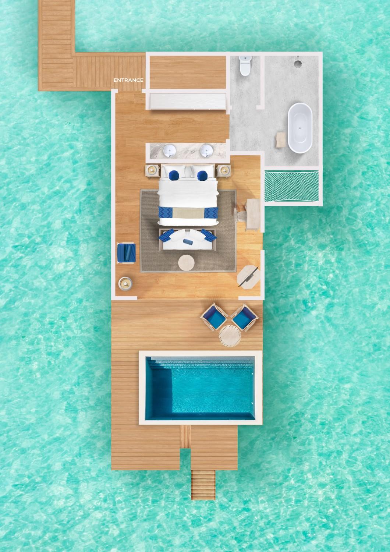 Мальдивы, отель Cora Cora Maldives, план-схема номера Lagoon Pool Villa