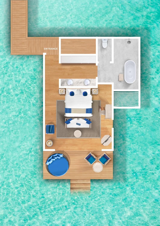 Мальдивы, отель Cora Cora Maldives, план-схема номера Lagoon Villa