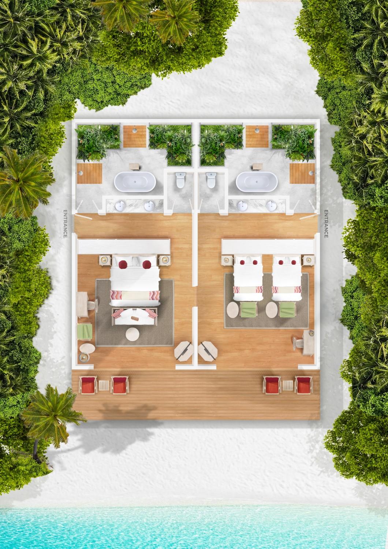 Мальдивы, отель Cora Cora Maldives, план-схема номера Two Bedroom Family Beach Villa