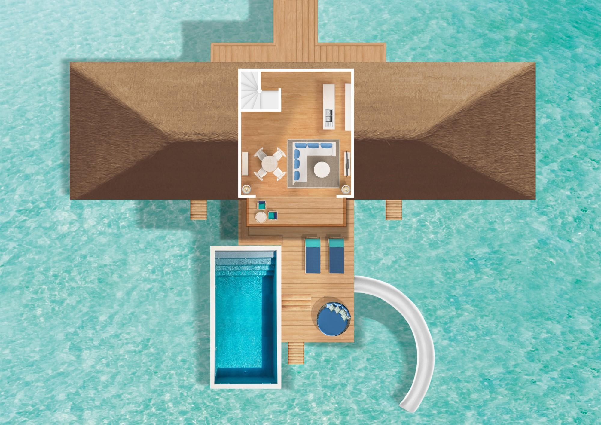 Мальдивы, отель Cora Cora Maldives, план-схема номера Two Bedroom Lagoon Pool Villa