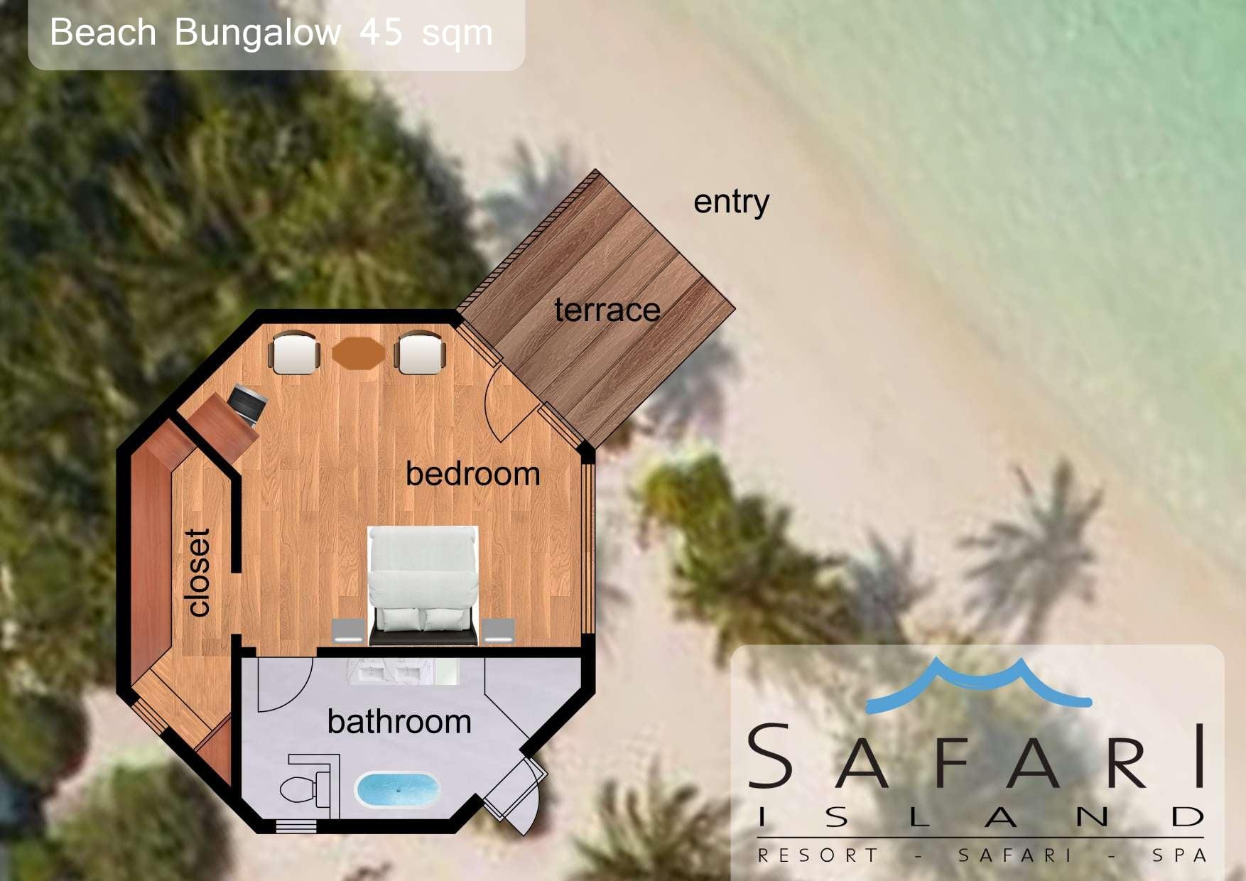 Мальдивы, Отель Safari Island Resort & Spa, план-схема номера Beach Bungalow