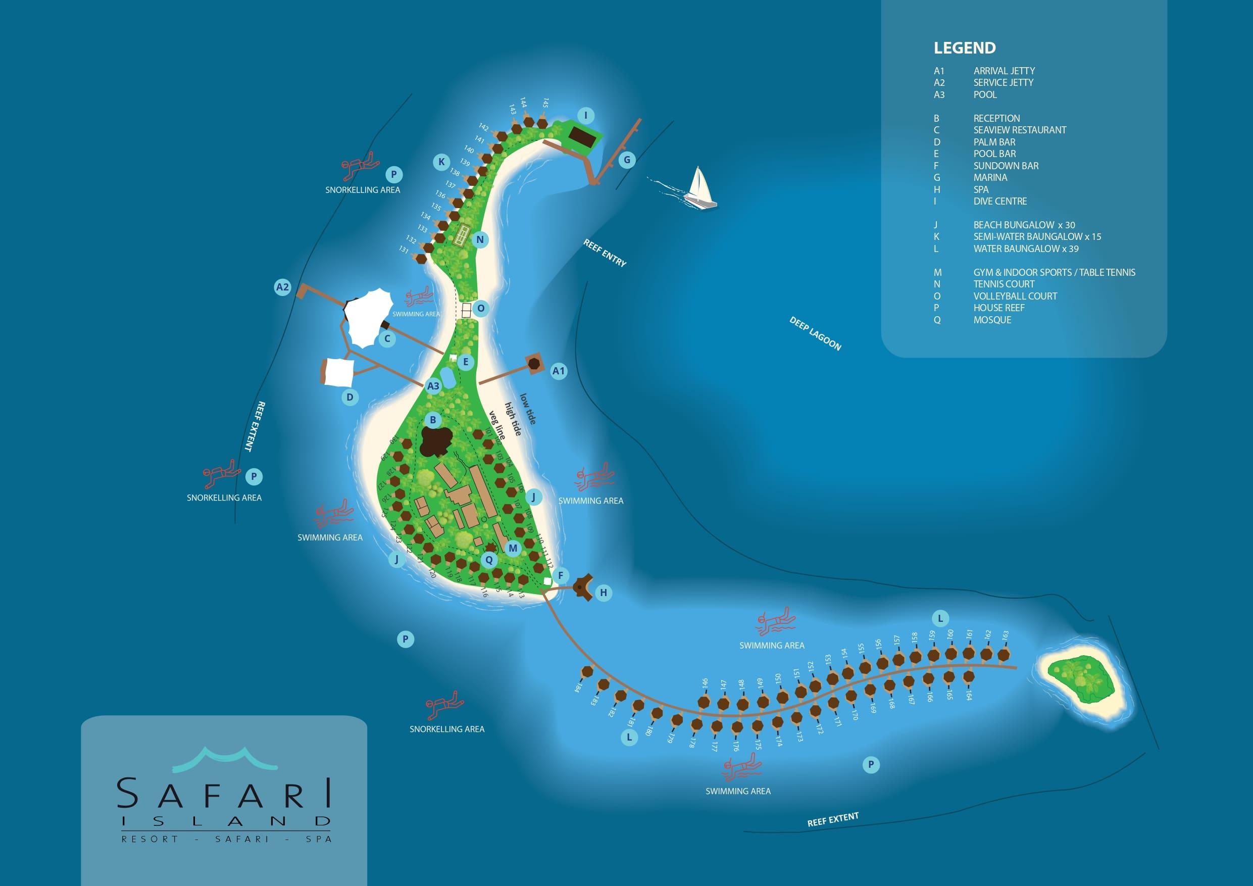 Мальдивы, карта отеля Safari Island Resort & Spa