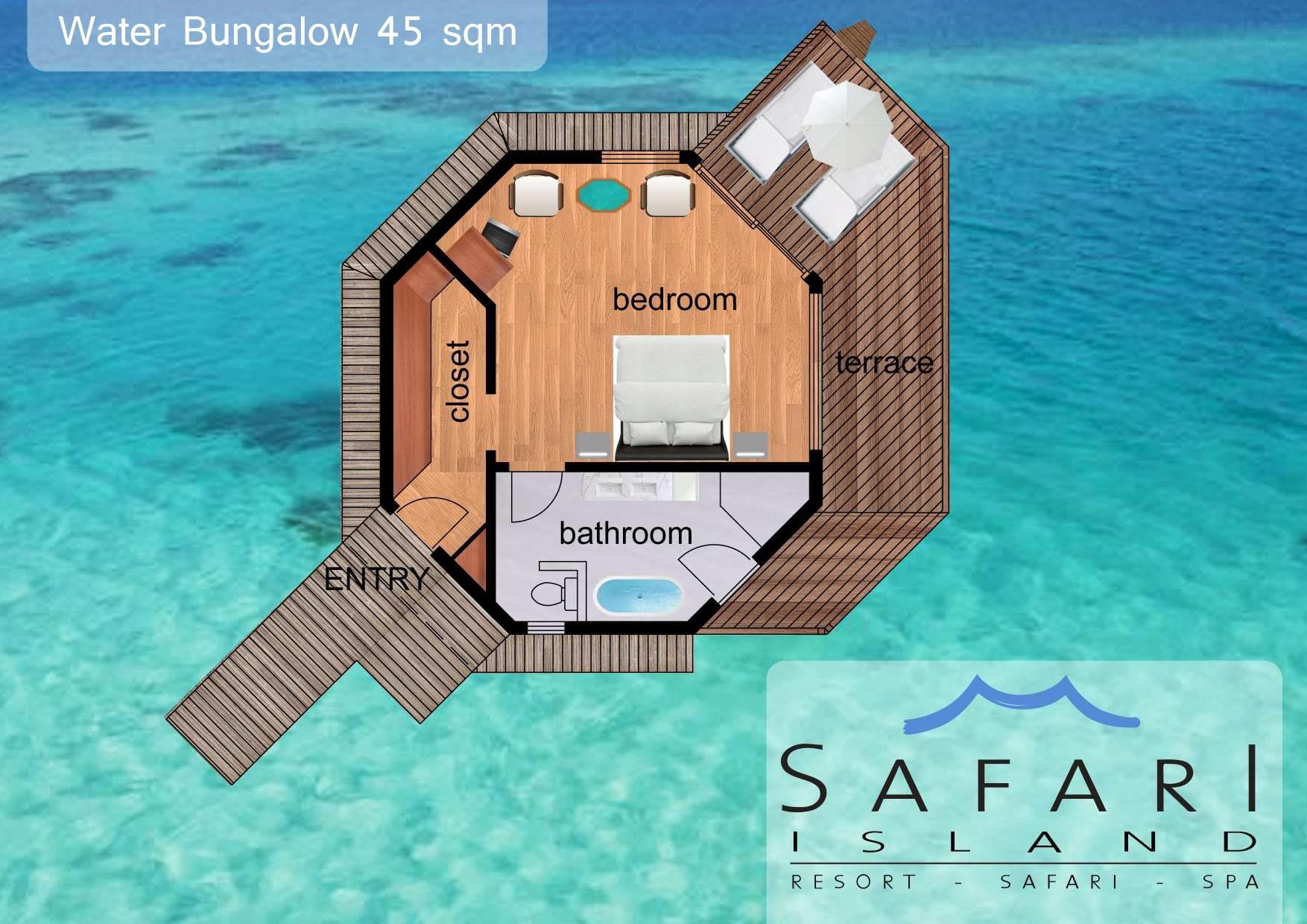 Мальдивы, Отель Safari Island Resort & Spa, план-схема номера Water Bungalow
